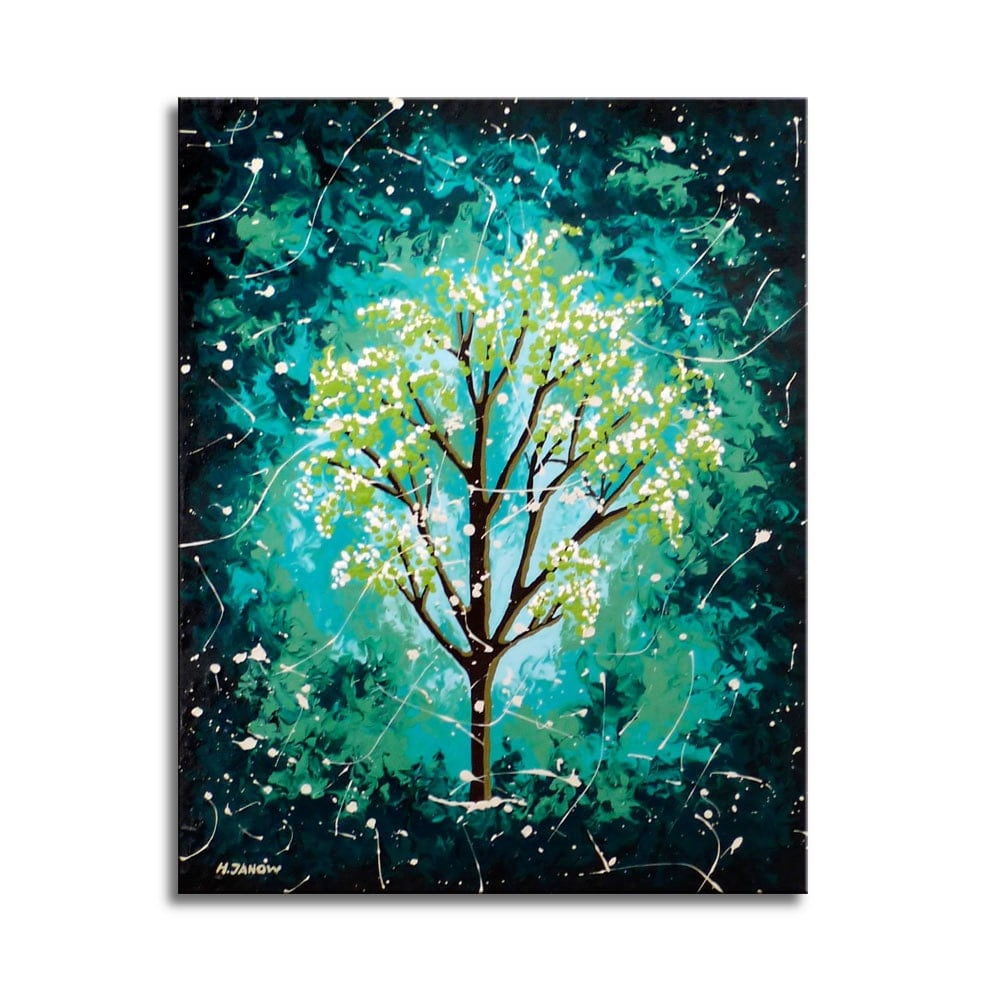 Tree of life painting original turquoise wall art for Turquoise wall decor