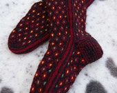 Christmas Knit Cable Stocking Unique Multi Color Hand knitted Socks - Original design