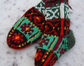 Christmas Knit Cable Stocking Unique Multi Color Hand knitted Baby Socks - Original design