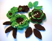 PDF CROCHET PATTERN - Set of crocheted applique green-brown flowers with leaves
