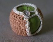 Handmade Crocheted Apple Cozy in Apricot and Off white