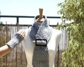 Crocheted Neckwarmer-Necktie With Adjustable Belt Buckle and Fingerless-Mittens Gloves Cuffs in Gray