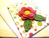 Handmade Postcard With Crocheted Appliques
