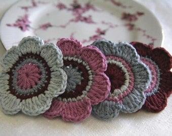 Set of 4 pcs Organic Cotton Crochet Flower Appliques in Guava, Garnet, Glacier and Ocean