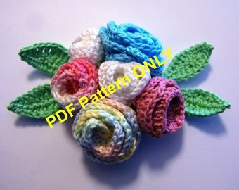PDF CROCHET PATTERN  - Crocheted multicolor bouquet of roses with green leaves