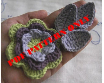 PDF CROCHET PATTERN - Organic Cotton Crochet Flower Set with Leaves in Bilberry, Amethyst and Lime colors