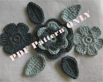 PDF CROCHET PATTERN - Organic Cotton Crochet Flowers Set with Leaves in Malachite and Silver Fern colors