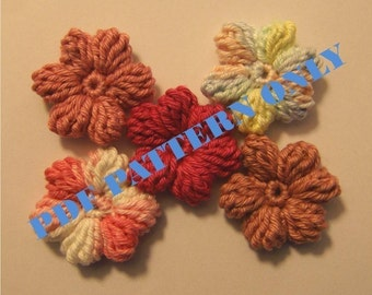 PDF CROCHET PATTERN - Set of pink tones crocheted applique flowers