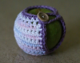 Handmade Crocheted Apple Cozy in Bright multicolor and Lilac