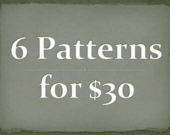 PDF CROCHET PATTERNs - Any 6 SINGLE Patterns for 30 dollars