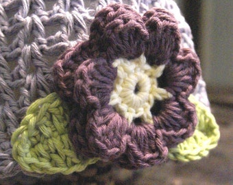 Newborn 0-3 Months Bilberry crochet baby hat with flower and leaves from very soft Organic Cotton Yarn