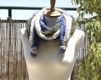 Long Scarf knitted in the technician - Tricotin and crocheted Mittens