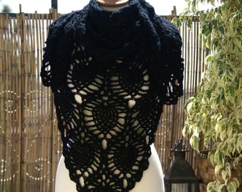 Big Black Crochet Shawl