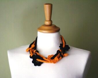 Halloween colors. Two colors crochet necklace