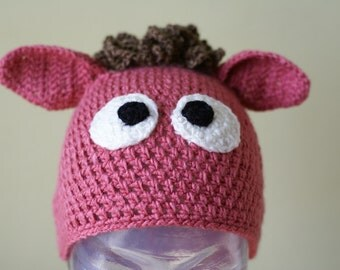 Halloween Cartoon Donkey Handmade Crocheted Children Autumn Hat