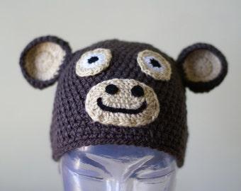 Halloween Cartoon Monkey Handmade Crocheted Children Autumn Hat