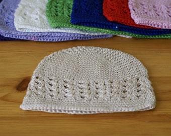 Newborn 0-3 Months Beige handmade crochet baby hat