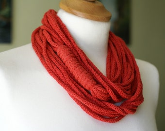 Crochet red necklace Valentine's Day
