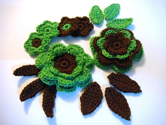 Set of crocheted applique green-brown 6 flowers with 6 leaves