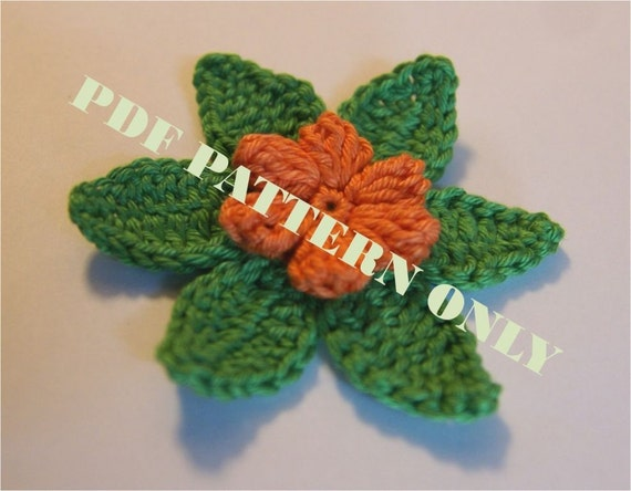PDF CROCHET PATTERN - Crocheted applique orange flower with green leaves