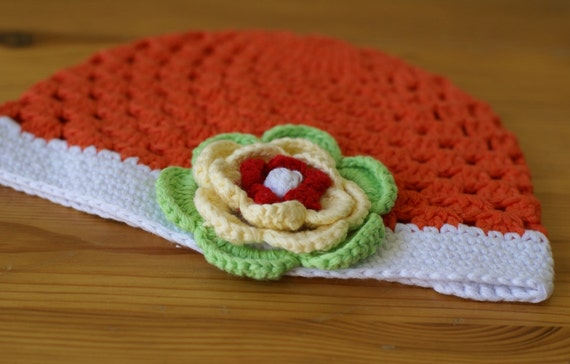 Newborn 0-3 Months orange handmade crochet baby hat with flower