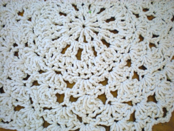 Rope Doily Rug Natural White Cotton