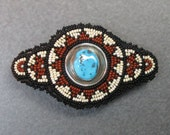 reserved TURQUOISE set in sterling silver center 3 inch seed bead barrette
