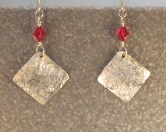 versatile RED HOT swarovski crystal and sterling dangles sterling silver EARRINGS