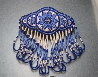 BEAUTIFUL BARRETTE FRINGED  seed bead and swarovski crystal