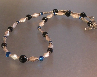 swarovski crystal, onyx and  sterling silver necklace