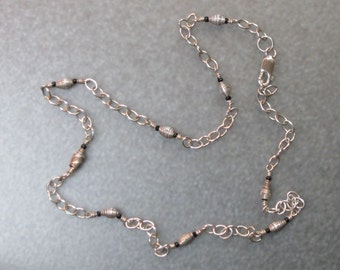 hill tribes silver .999 and sterling silver stations chain necklace