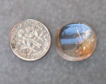 UNIQUE unusual DESIGNER asymetrical FACETED contemporary gold-shot rutilated quartz round cabochon 1