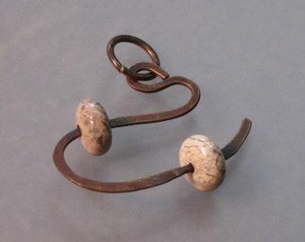 SILVER LACE AGATE on copper contemporary pendant