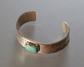 925 TURQUOISE CUFF, authentic old stock turquoise, vintage turquoise heavy sterling cuff,  boho festival hippy cuff bracelet see listing