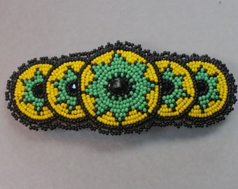 """4"""" seed beaded BEST QUALITY made in france hair barrette on leather"""