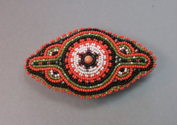 """3"""" genuine made in france BEST QUALITY VINTAGE natural coral and sterling silver seed bead hair barrette"""