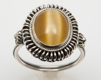 Cats Eye Industrial Silver Ring