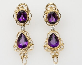 Amethyst, Diamond and 14K Gold Filigree Earrings