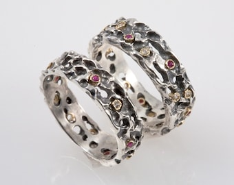 Medieval Wedding Band Set - Made from Silver with Rubies & Diamonds