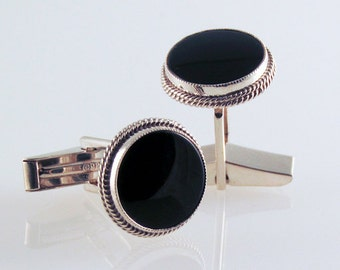 Onyx and Silver Cuff Links