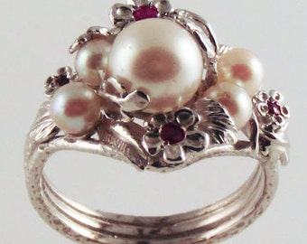 Five Pearl Ruby Ring - in recycled silver