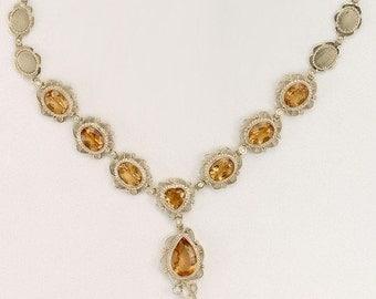 Yellow Topaz, Diamond Gold Necklace