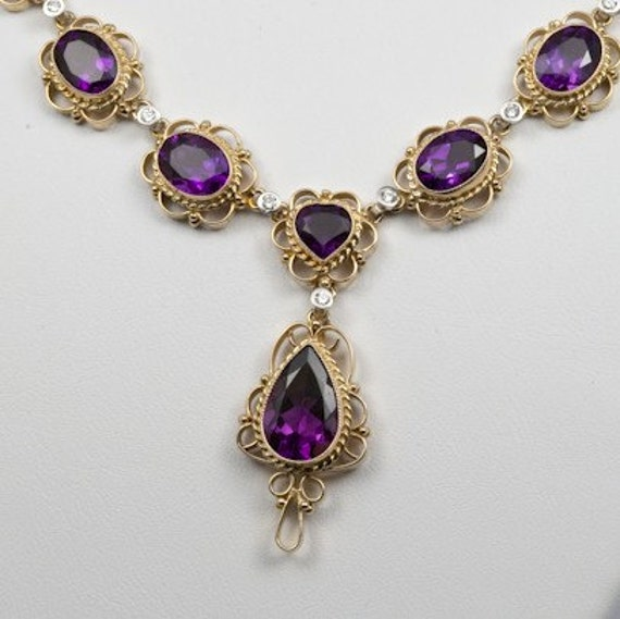 Amethyst, Diamond and 14K Gold Filigree Necklace