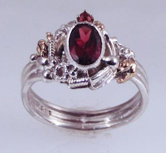 Garnet Crown Industrial Ring
