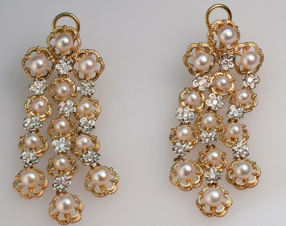 Pearl & Diamond Princess Earrings