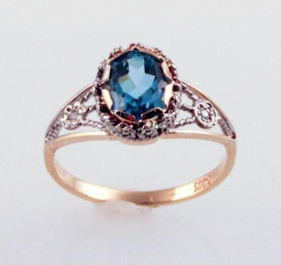 Blue Topaz Web Ring - in 14K gold