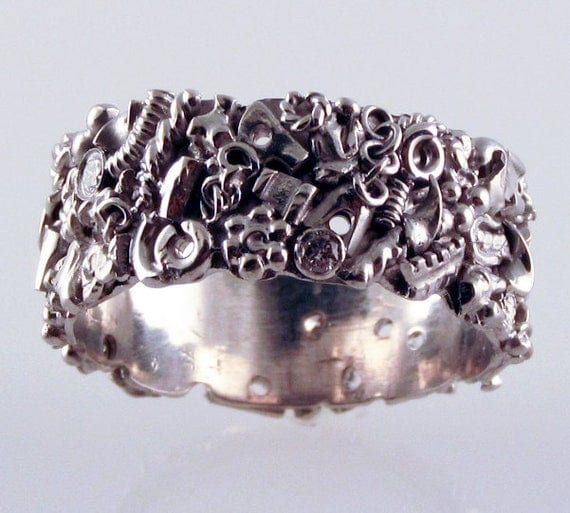 Men's Steampunk Wedding Band - in recycled silver