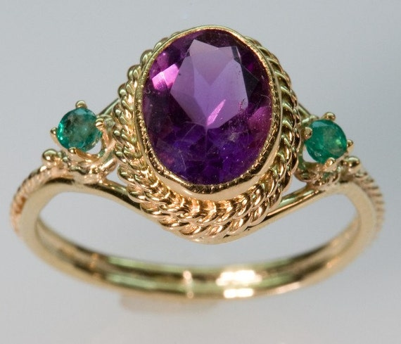 items similar to amethyst and emerald filigree ring in