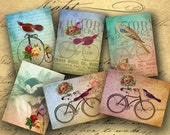 Instant Download Birds and Bicycles ATC ACEO or Jewelry Holders 2.5 X 3.5 inch - DigitalPerfection digital collage sheet 660