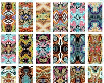 INSTANT DOWNLOAD Digital Collage Sheet Crazy Kaleidoscopes 1 X 2 inch - DigitalPerfection digital collage sheet 306